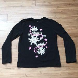 Oshkosh Black Long Sleeve Snowflake Tee Size 8